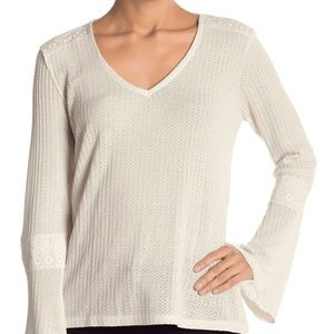 Lucky Brand Top Blouse Thermal Beige Bell Sz L